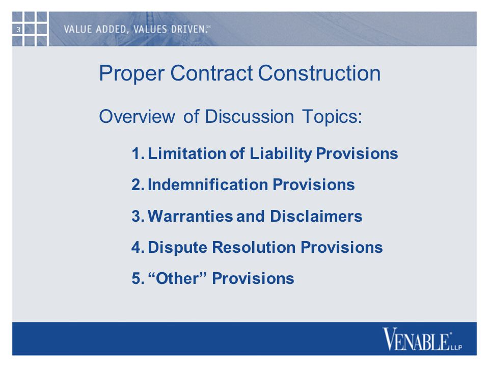 3 Proper Contract Construction Overview of Discussion Topics: 1.Limitation of Liability Provisions 2.Indemnification Provisions 3.Warranties and Disclaimers 4.Dispute Resolution Provisions 5.Other Provisions