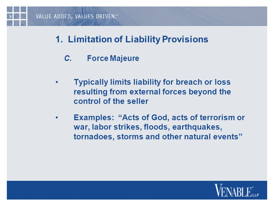 9 1. Limitation of Liability Provisions C.
