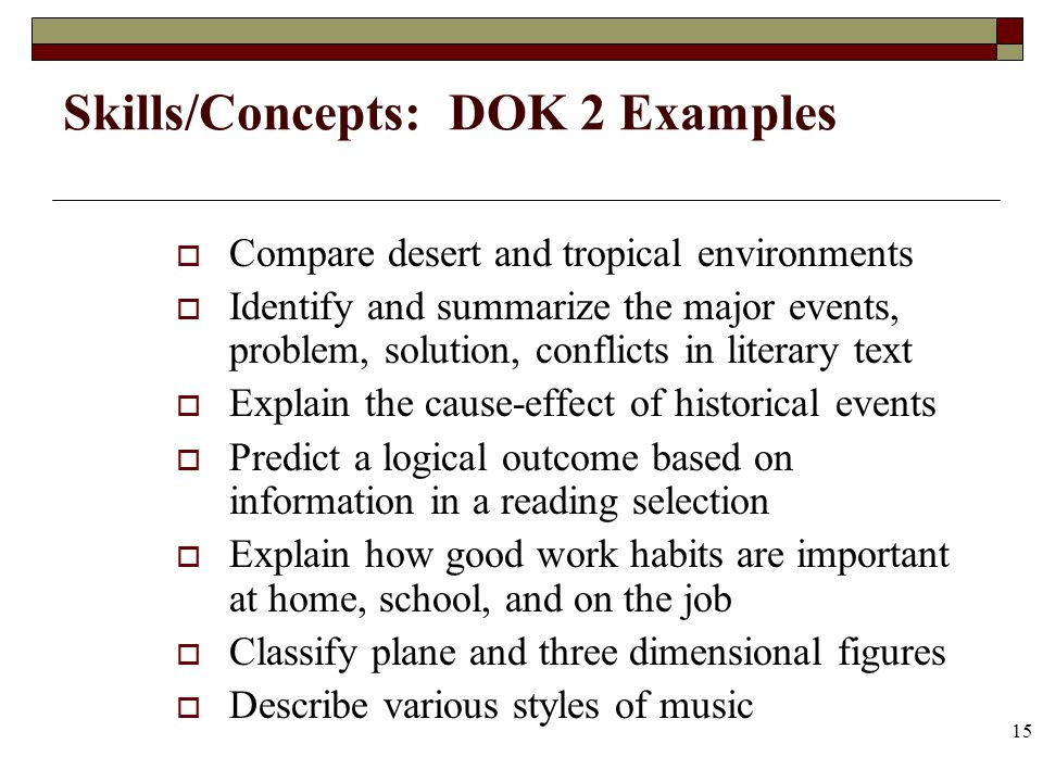 15 Skills/Concepts: DOK 2 Examples Compare desert and tropical environments Identify and summarize the major events, problem, solution, conflicts in l