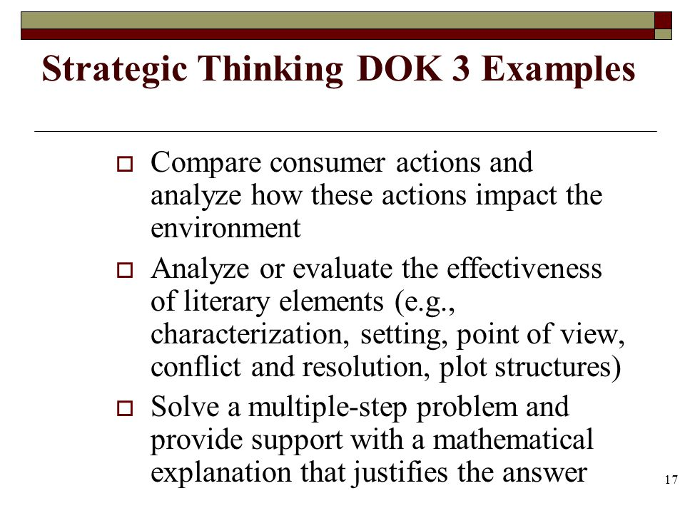 17 Strategic Thinking DOK 3 Examples Compare consumer actions and analyze how these actions impact the environment Analyze or evaluate the effectivene