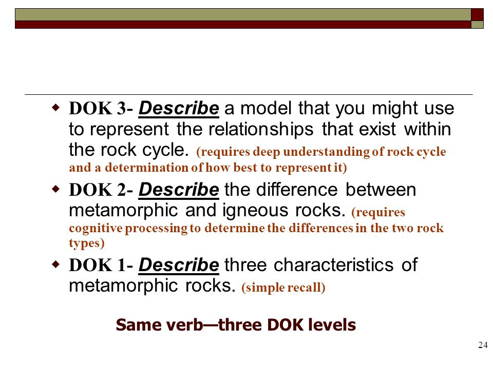 24 DOK 3- Describe a model that you might use to represent the relationships that exist within the rock cycle. (requires deep understanding of rock cy