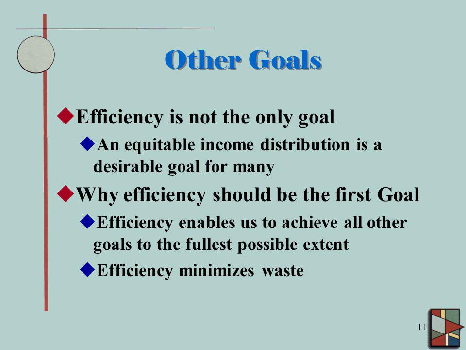 11 Other Goals Efficiency is not the only goal An equitable income distribution is a desirable goal for many Why efficiency should be the first Goal Efficiency enables us to achieve all other goals to the fullest possible extent Efficiency minimizes waste