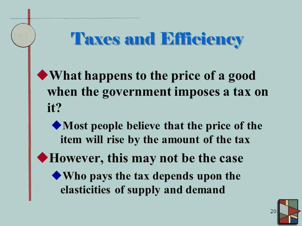 20 Taxes and Efficiency What happens to the price of a good when the government imposes a tax on it.