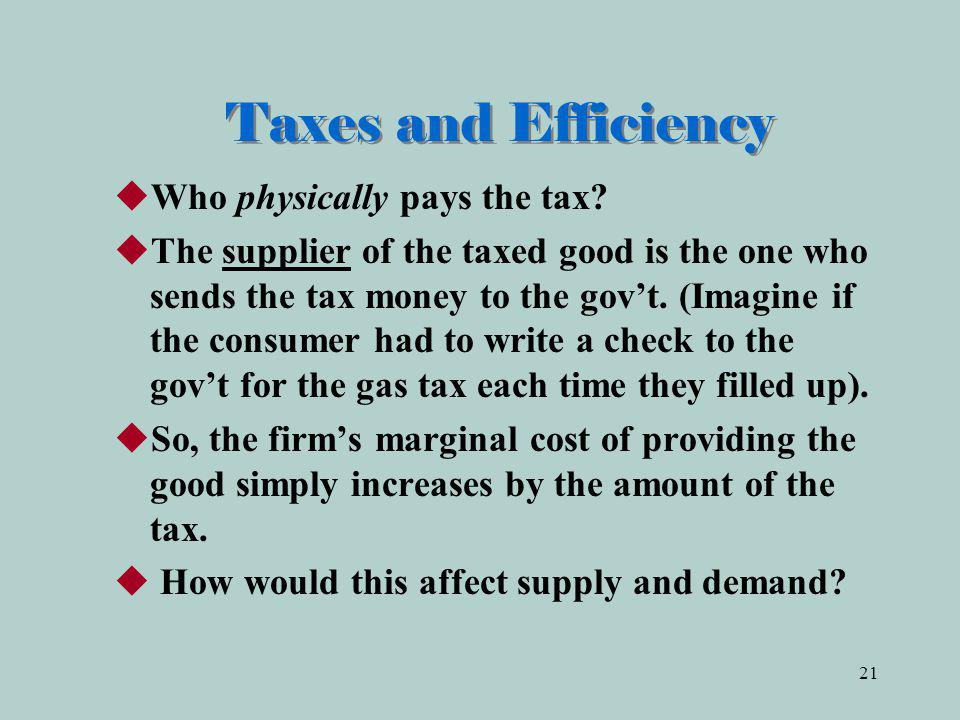 21 Taxes and Efficiency Who physically pays the tax.