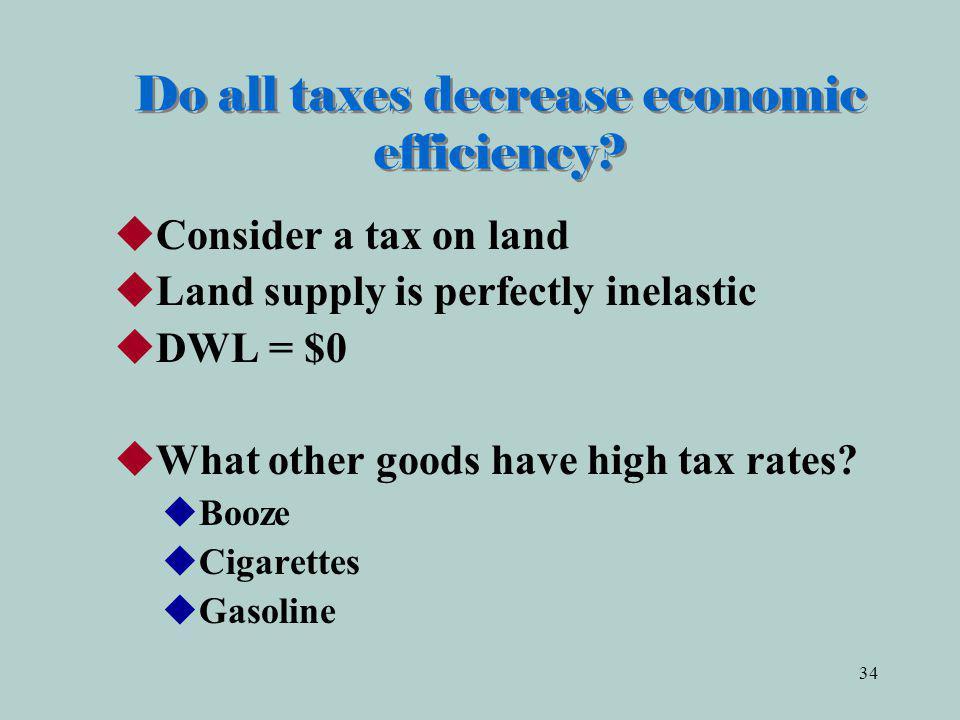 34 Do all taxes decrease economic efficiency.