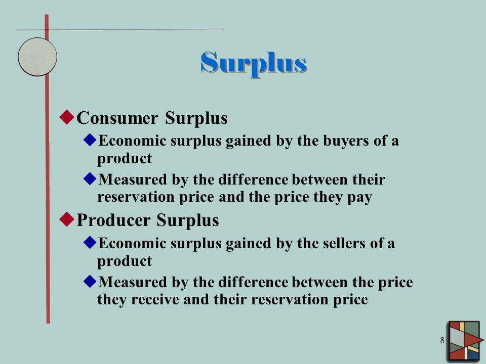 8 Surplus Consumer Surplus Economic surplus gained by the buyers of a product Measured by the difference between their reservation price and the price they pay Producer Surplus Economic surplus gained by the sellers of a product Measured by the difference between the price they receive and their reservation price