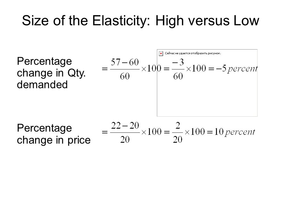 Size of the Elasticity: High versus Low Percentage change in Qty.