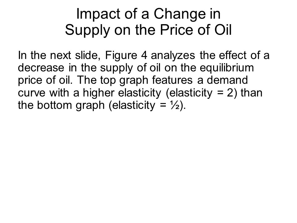 In the next slide, Figure 4 analyzes the effect of a decrease in the supply of oil on the equilibrium price of oil.