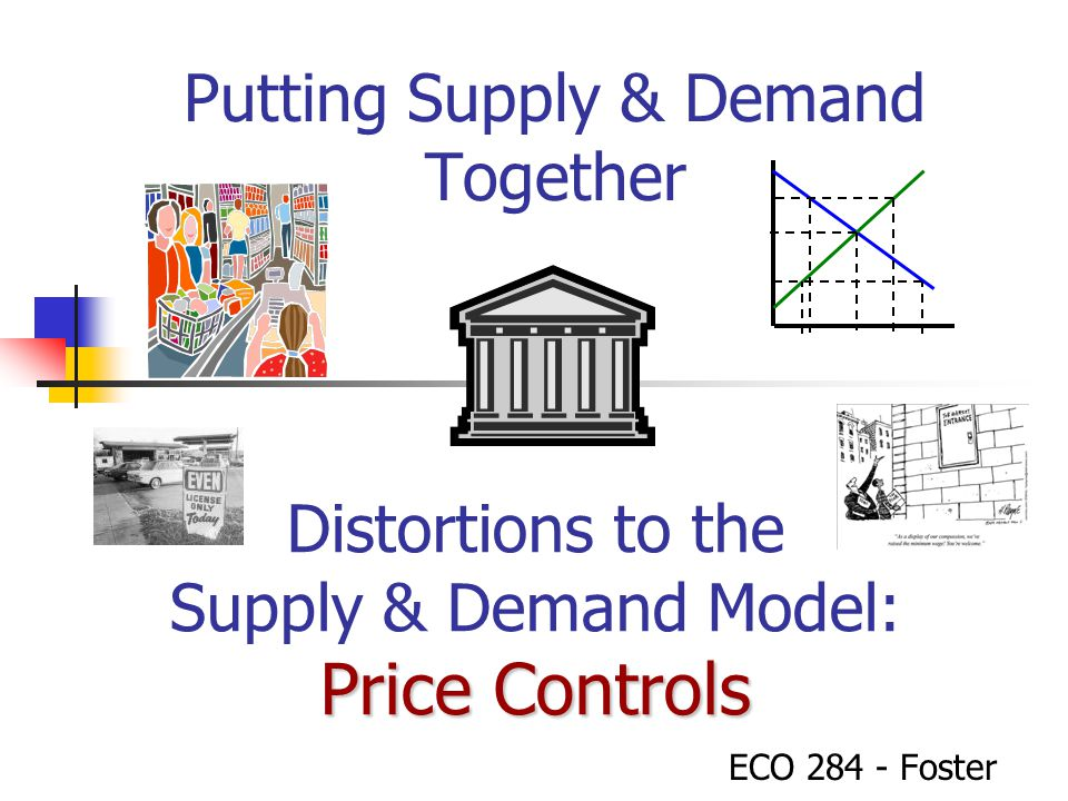 Putting Supply & Demand Together ECO 284 - Foster Price Controls Distortions to the Supply & Demand Model: Price Controls