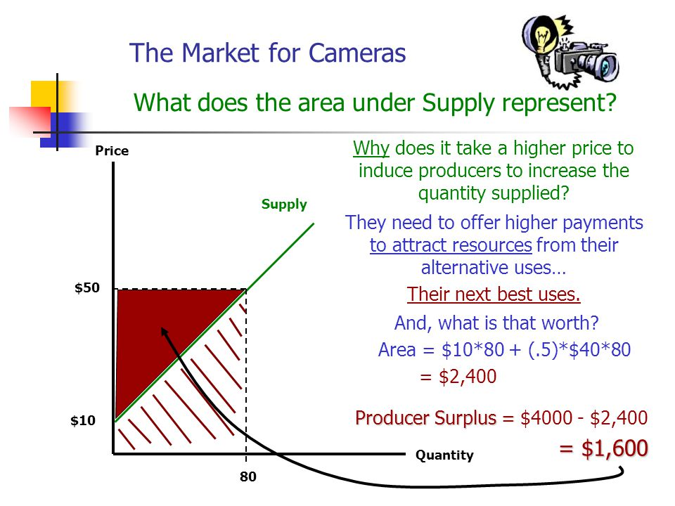 The Market for Cameras Freely functioning markets tend to maximize the consumer and producer surplus.