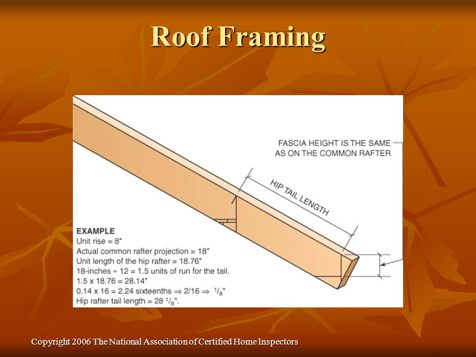 Copyright 2006 The National Association of Certified Home Inspectors Roof Framing