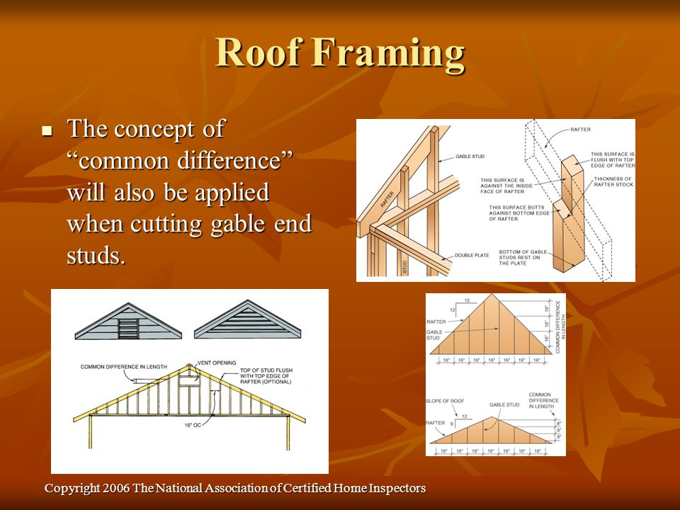 Copyright 2006 The National Association of Certified Home Inspectors The concept of common difference will also be applied when cutting gable end stud