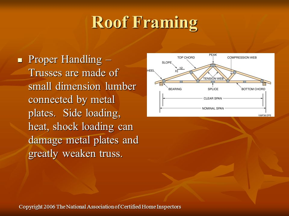 Copyright 2006 The National Association of Certified Home Inspectors Proper Handling – Trusses are made of small dimension lumber connected by metal p