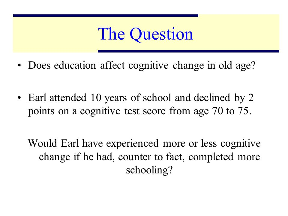 3 The Question Does education affect cognitive change in old age.