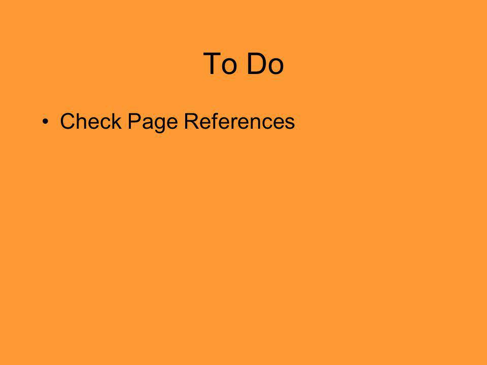 To Do Check Page References