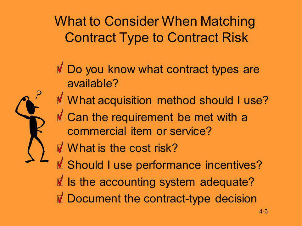 What to Consider When Matching Contract Type to Contract Risk Do you know what contract types are available.