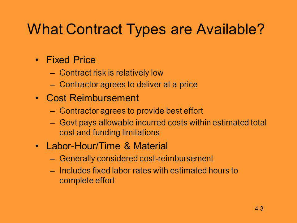 What Contract Types are Available.
