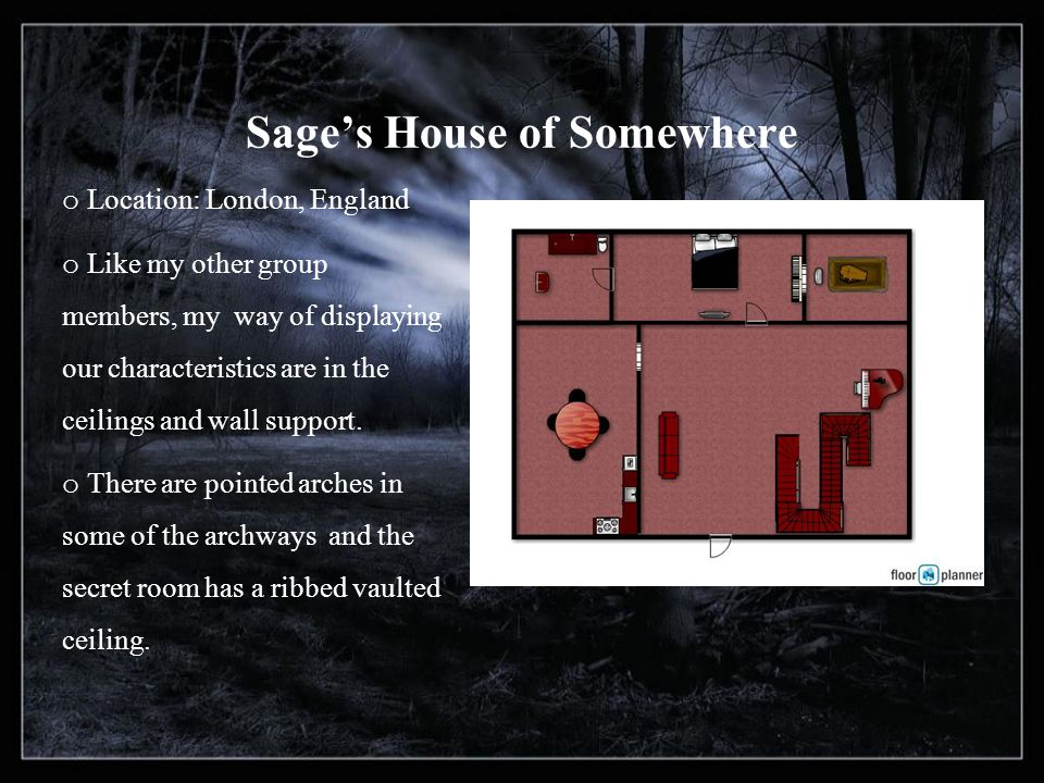 Sages House of Somewhere o Location: London, England o Like my other group members, my way of displaying our characteristics are in the ceilings and wall support.