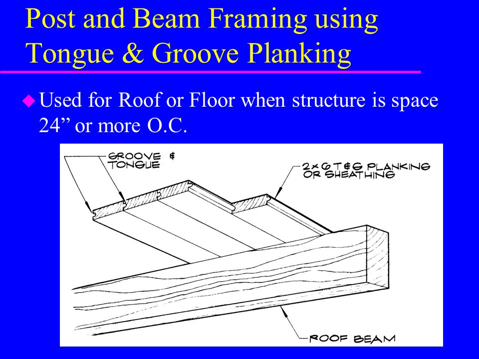 Post and Beam Framing using Tongue & Groove Planking u Used for Roof or Floor when structure is space 24 or more O.C.