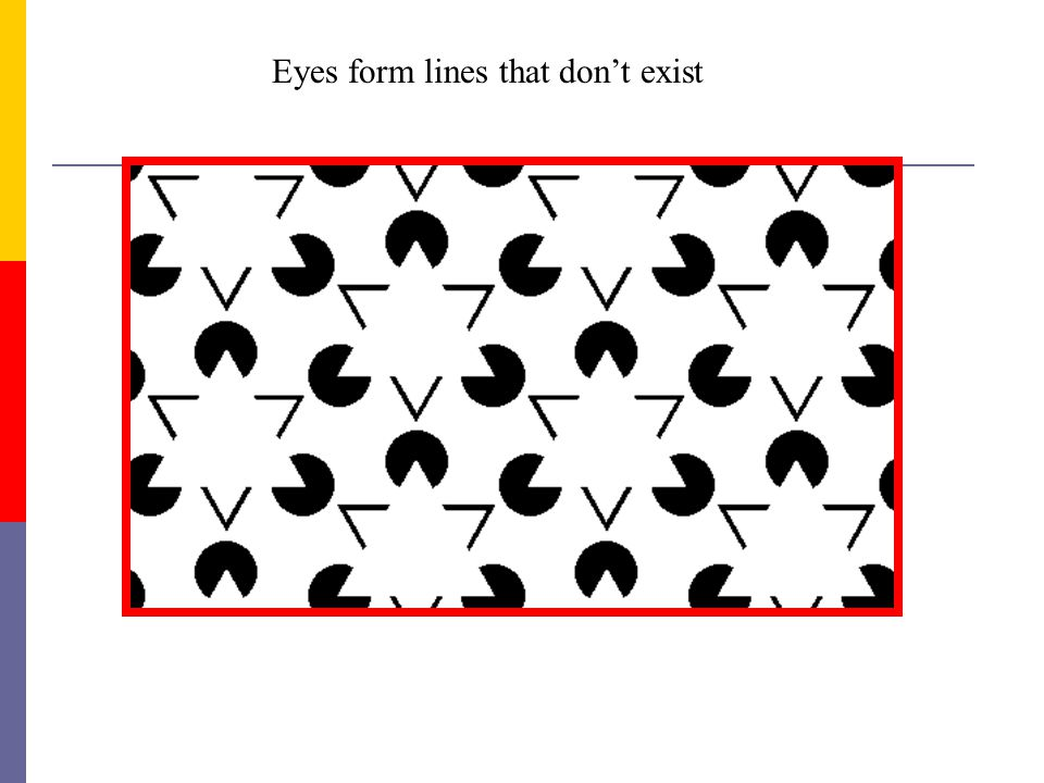 Eyes form lines that dont exist