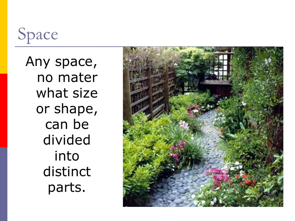 Space Any space, no mater what size or shape, can be divided into distinct parts.
