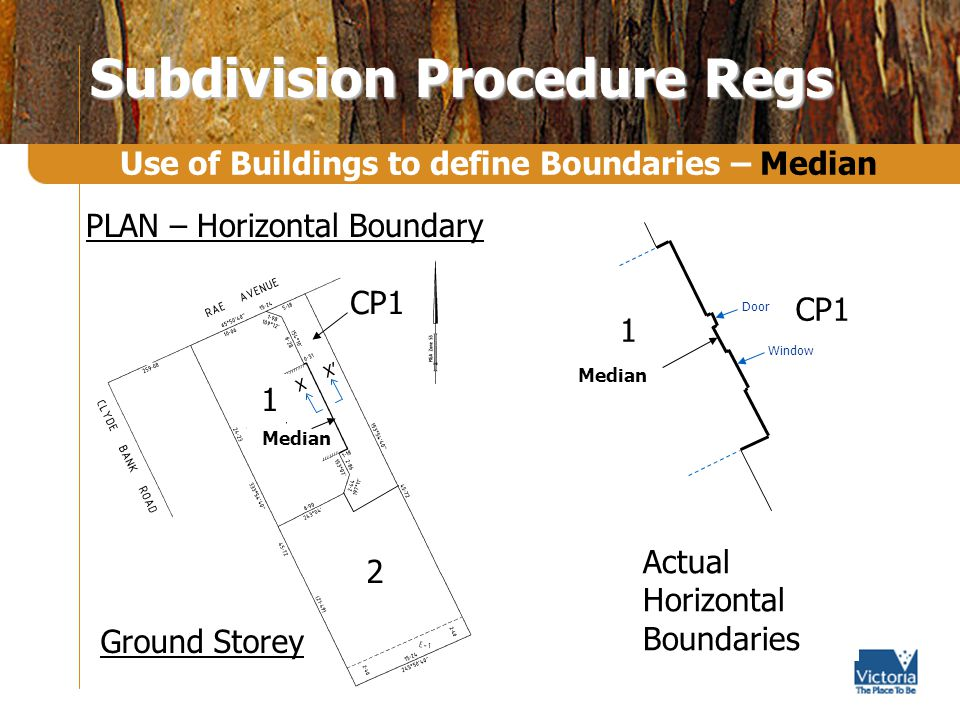 Subdivision Procedure Regs Use of Buildings to define Boundaries – Median Actual Horizontal Boundaries Window Door Median CP1 1 X X 1 Median 2 CP1 Ground Storey X X PLAN – Horizontal Boundary