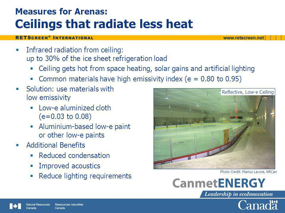 Measures for Arenas: Ceilings that radiate less heat Infrared radiation from ceiling: up to 30% of the ice sheet refrigeration load Ceiling gets hot f