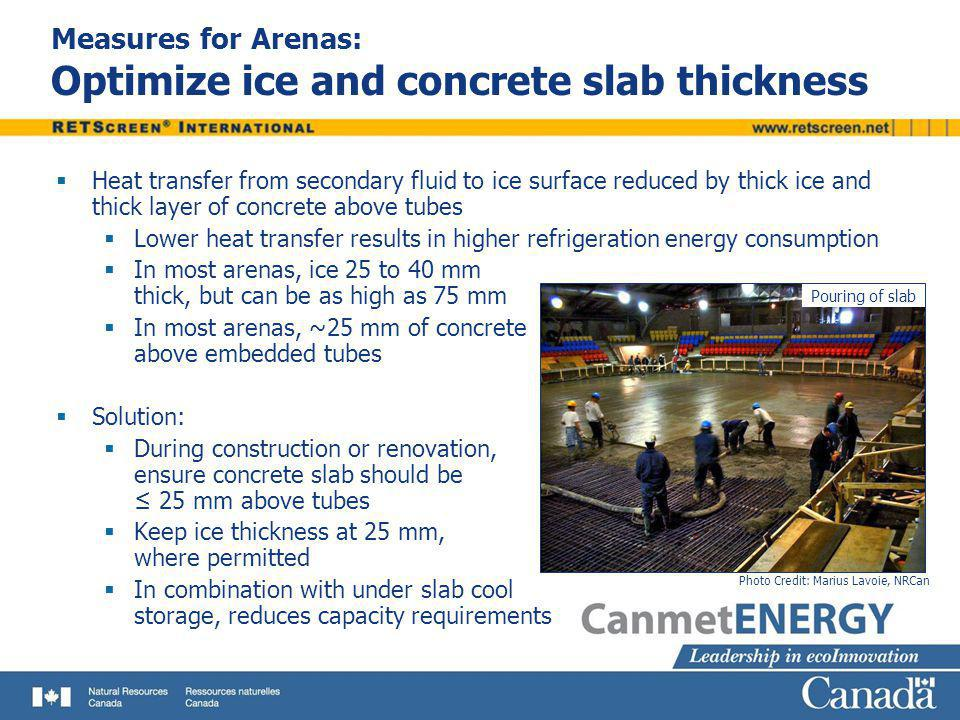 Measures for Arenas: Optimize ice and concrete slab thickness Heat transfer from secondary fluid to ice surface reduced by thick ice and thick layer o