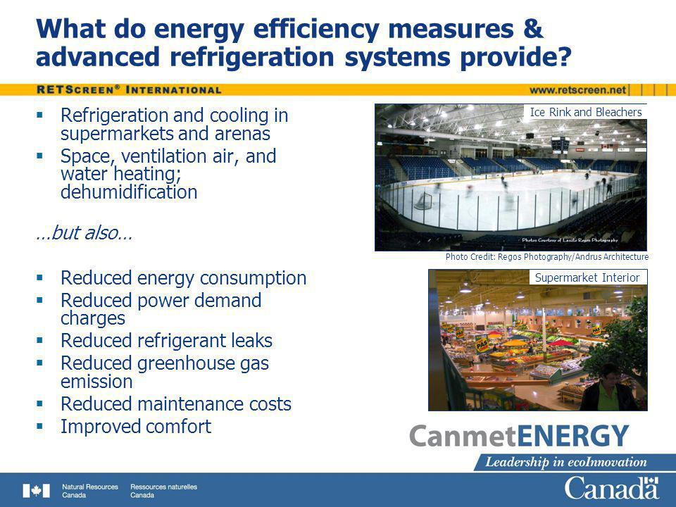 Refrigeration and cooling in supermarkets and arenas Space, ventilation air, and water heating; dehumidification …but also… Reduced energy consumption