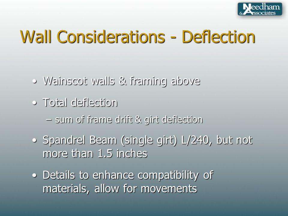 Wall Considerations - Deflection Wainscot walls & framing aboveWainscot walls & framing above Total deflectionTotal deflection –sum of frame drift & g