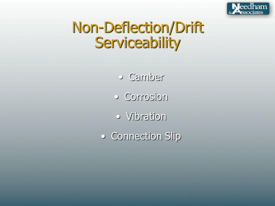 Non-Deflection/Drift Serviceability CamberCamber CorrosionCorrosion VibrationVibration Connection SlipConnection Slip