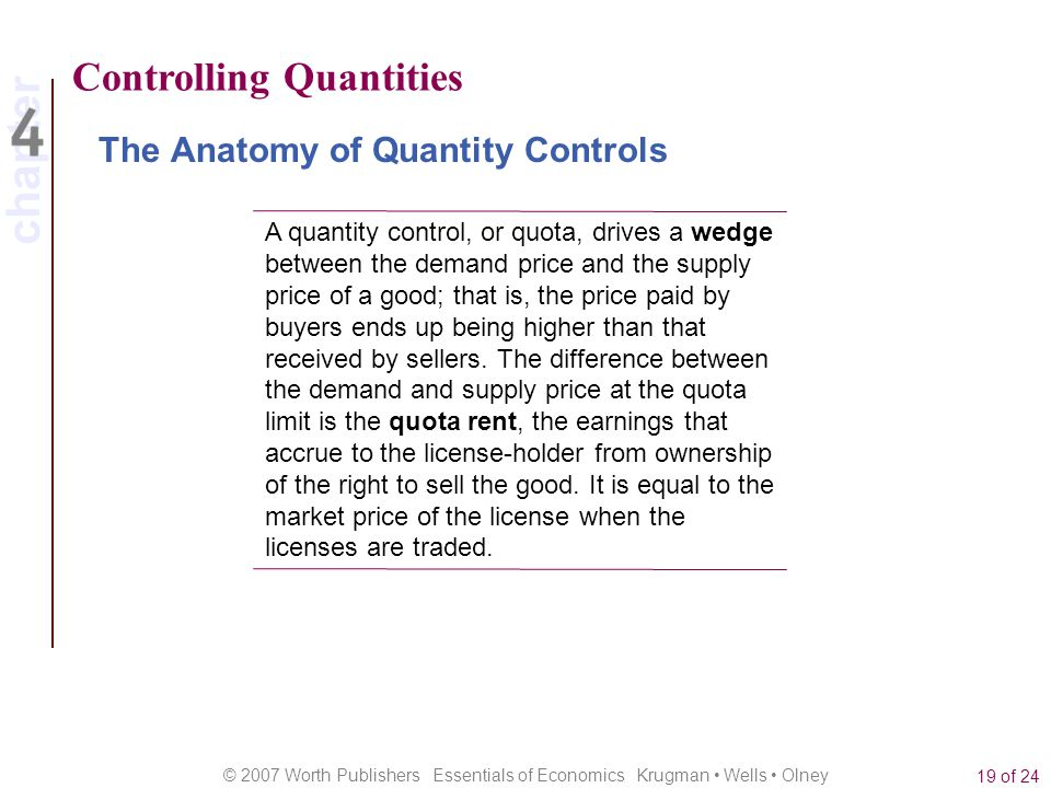 chapter © 2007 Worth Publishers Essentials of Economics Krugman Wells Olney 19 of 24 Controlling Quantities The Anatomy of Quantity Controls A quantit