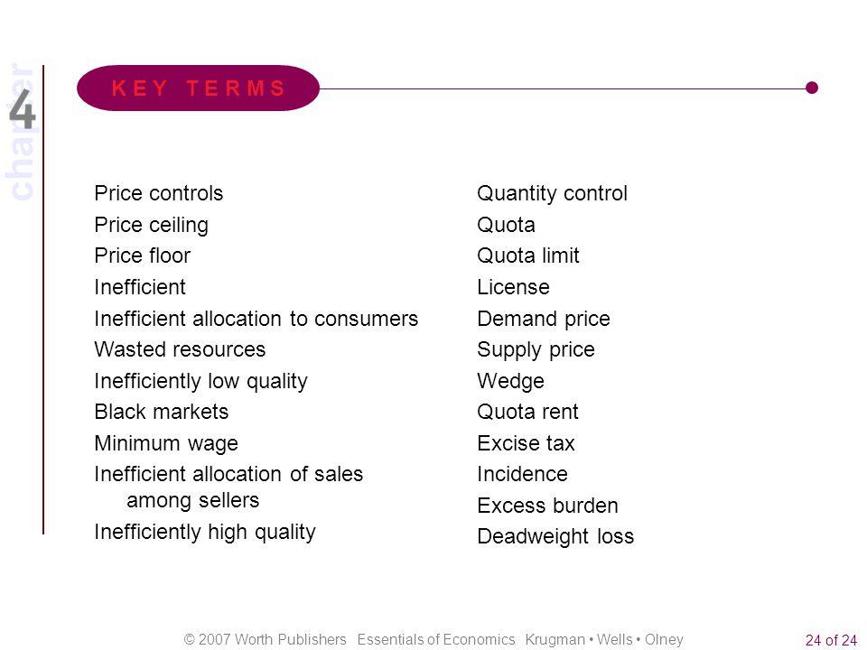 chapter © 2007 Worth Publishers Essentials of Economics Krugman Wells Olney 24 of 24 Price controls Price ceiling Price floor Inefficient Inefficient