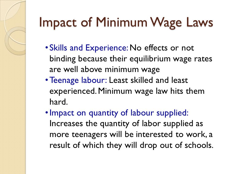 Impact of Minimum Wage Laws Skills and Experience: No effects or not binding because their equilibrium wage rates are well above minimum wage Teenage