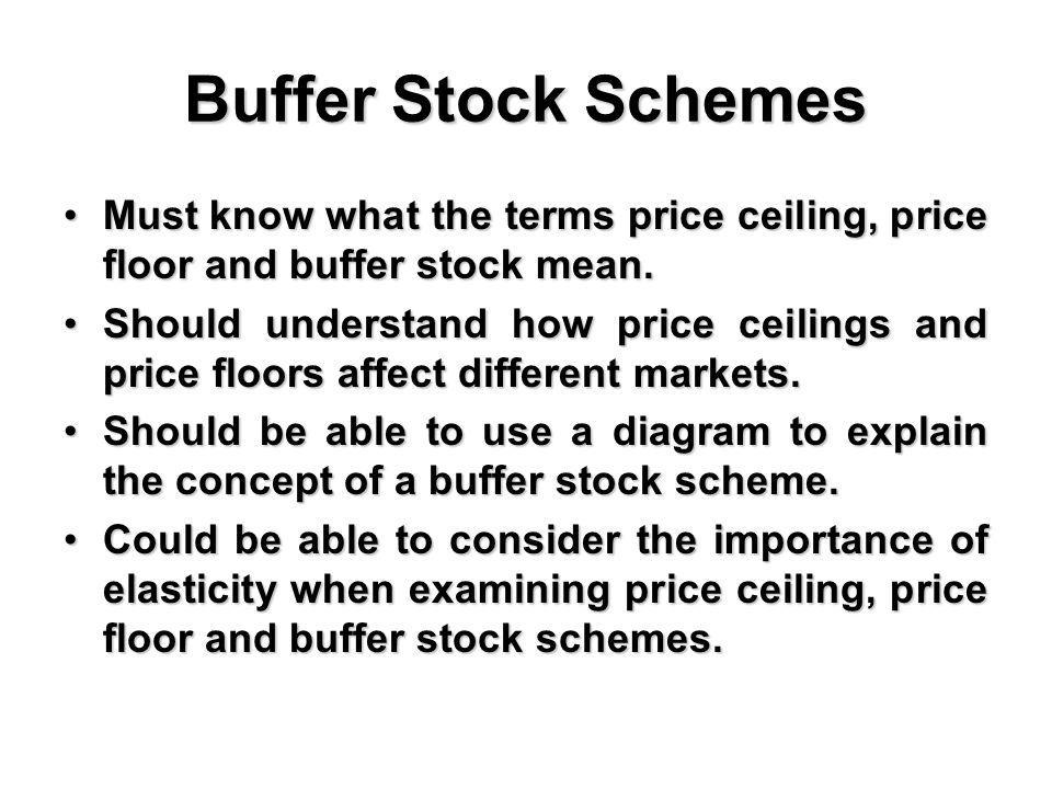 Buffer Stock Schemes Must know what the terms price ceiling, price floor and buffer stock mean.Must know what the terms price ceiling, price floor and