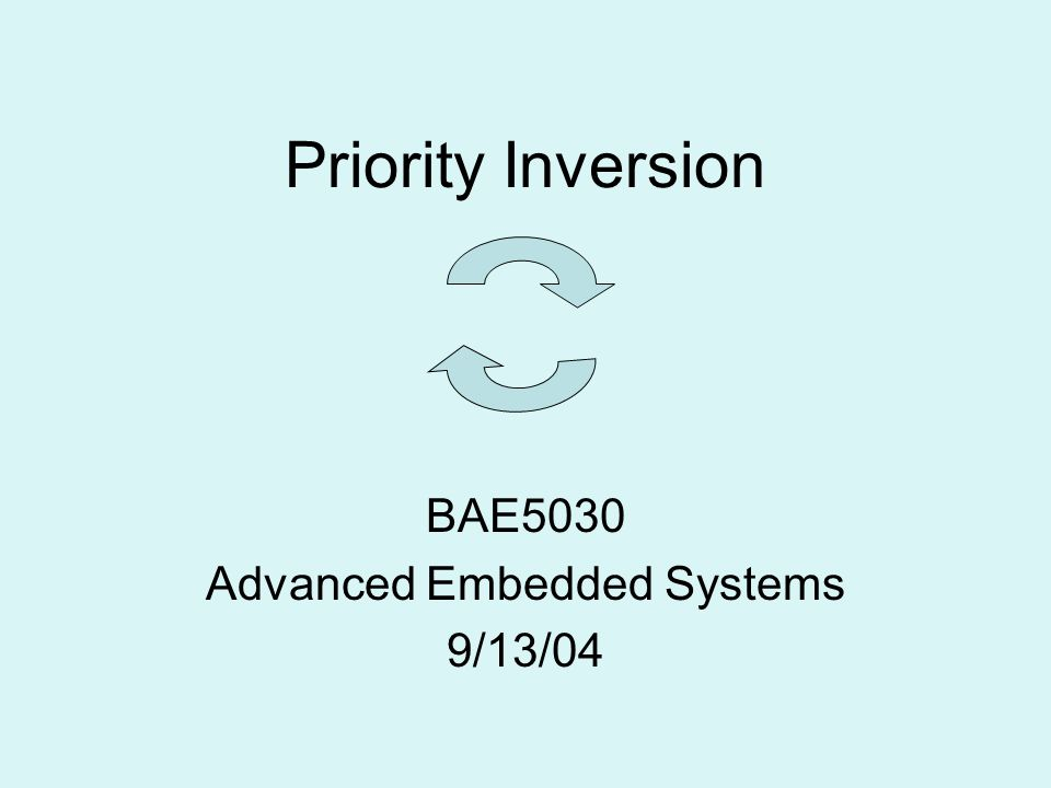 Priority Inversion BAE5030 Advanced Embedded Systems 9/13/04