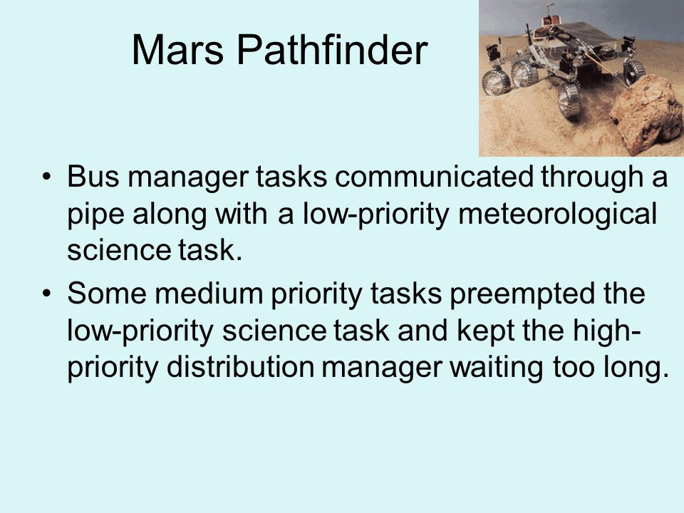Mars Pathfinder Bus manager tasks communicated through a pipe along with a low-priority meteorological science task.