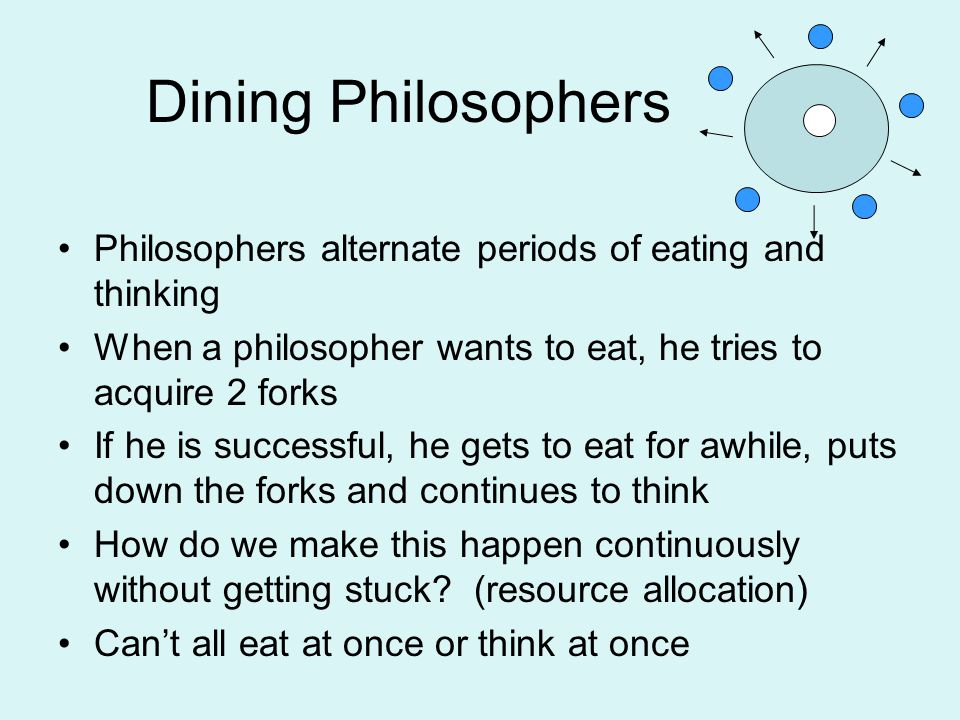 Dining Philosophers Philosophers alternate periods of eating and thinking When a philosopher wants to eat, he tries to acquire 2 forks If he is successful, he gets to eat for awhile, puts down the forks and continues to think How do we make this happen continuously without getting stuck.