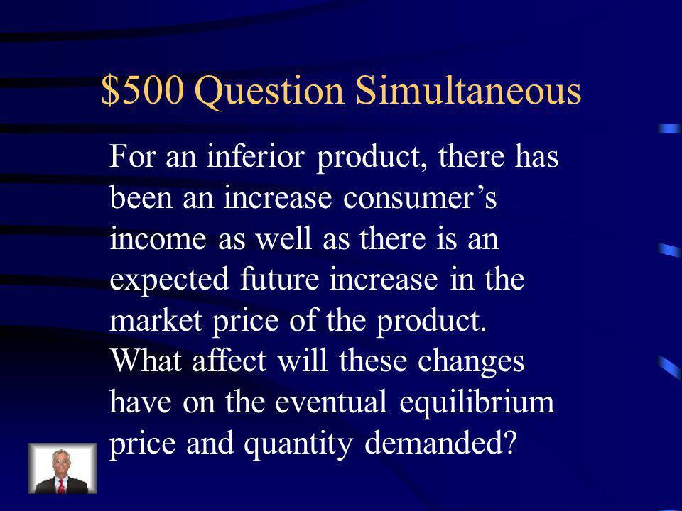 $400 Answer Simultaneous Equilibrium Price Indeterminate Equilibrium Quantity Increases