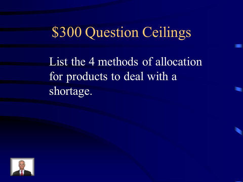 $200 Answer Ceilings A shortage occurs. A black market develops.