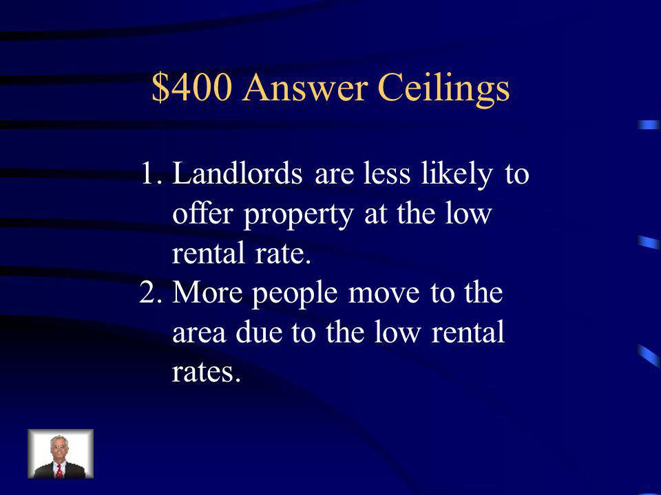 $400 Question Ceilings Identify two key reasons why rent control can lead to low vacancy rates.
