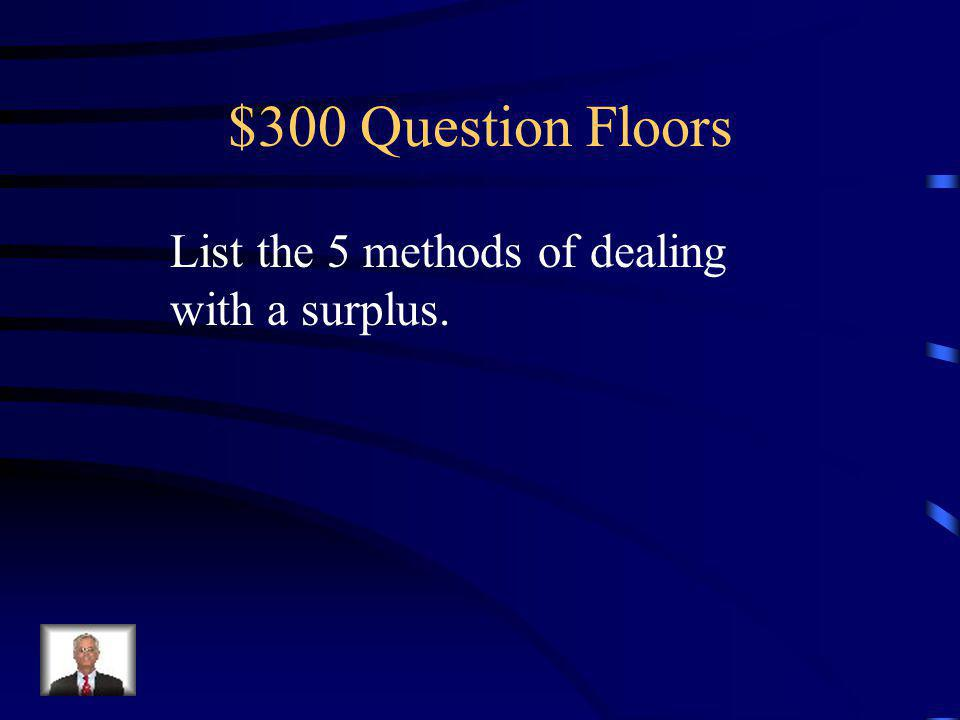 $200 Answer Floors A surplus occurs in the market. Unemployment.