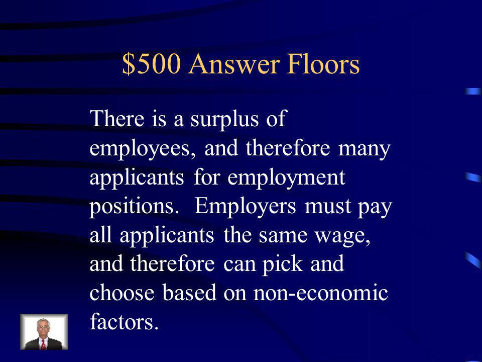 $500 Question Floors Describe how the minimum wage allows employers to discriminate.