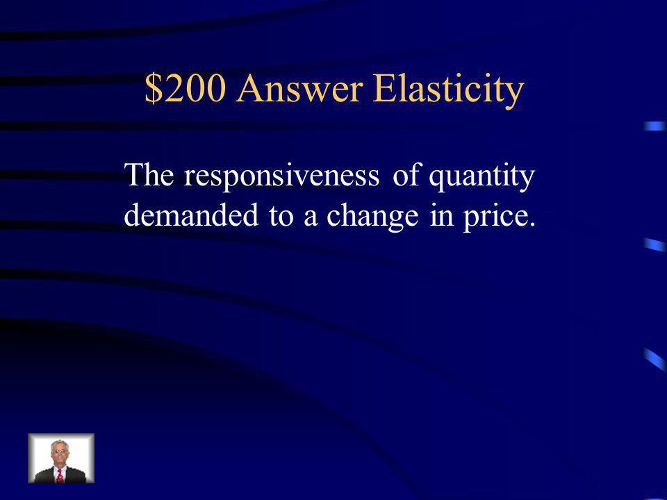 $200 Question Elasticity Define the term price elasticity of demand.