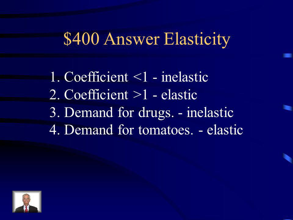 $400 Question Elasticity Identify the following as inelastic or elastic demand: 1.Coefficient <1 2. Coefficient >1 3. Demand for drugs. 4. Demand for