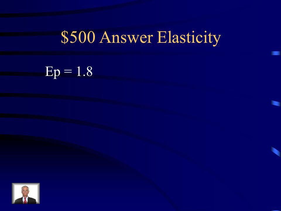 $500 Question Elasticity Calculate the elasticity coefficient for the following product: New Qd – 120, Old Qd – 80 New P – 60, Old P – 75