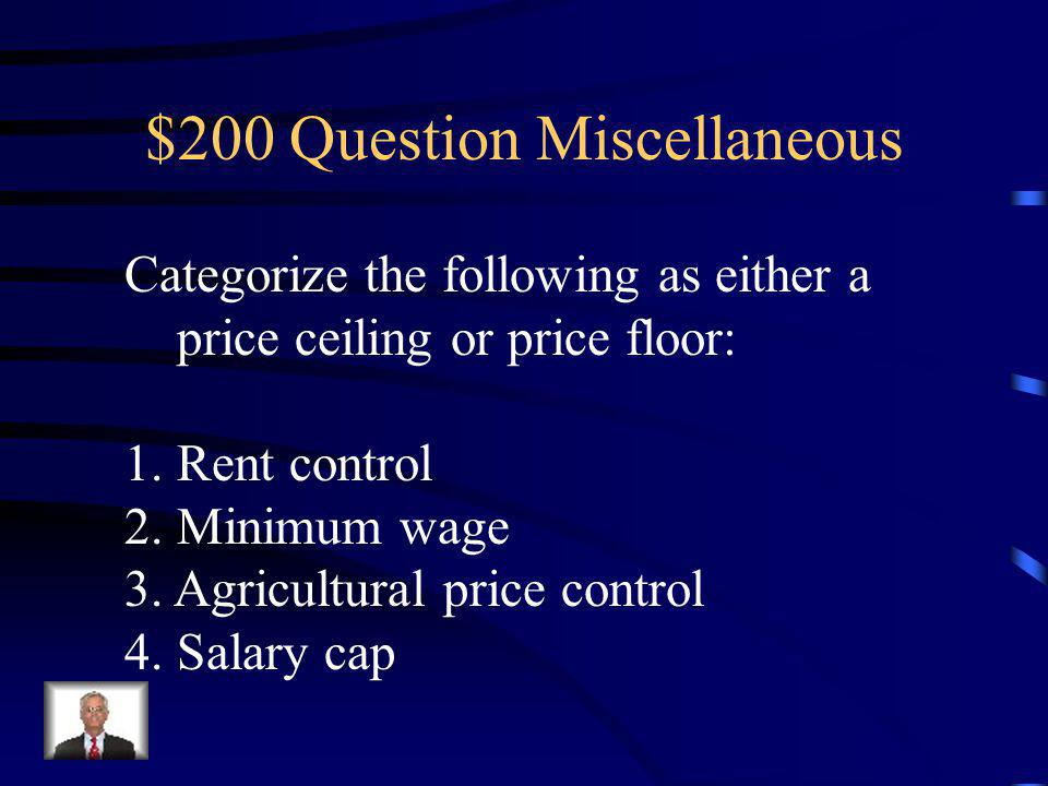 $100 Answer Miscellaneous 1. If demand is inelastic and price rises, total revenue will rise.