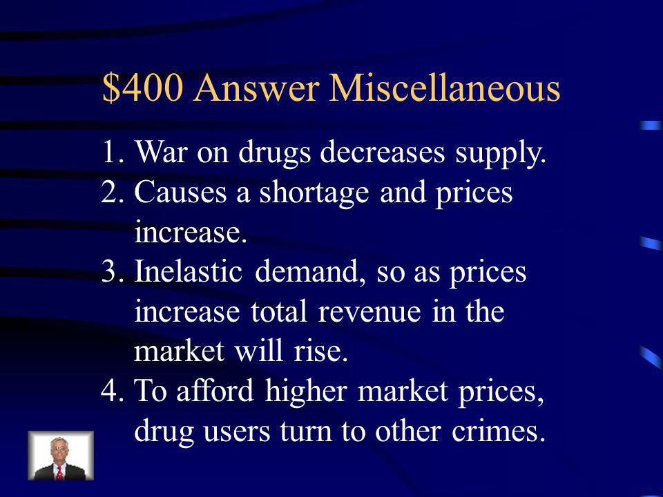 $400 Question Miscellaneous Describe how a war on drugs might increase crime rates – use the concepts or shortages/surpluses, elasticity, price, and t