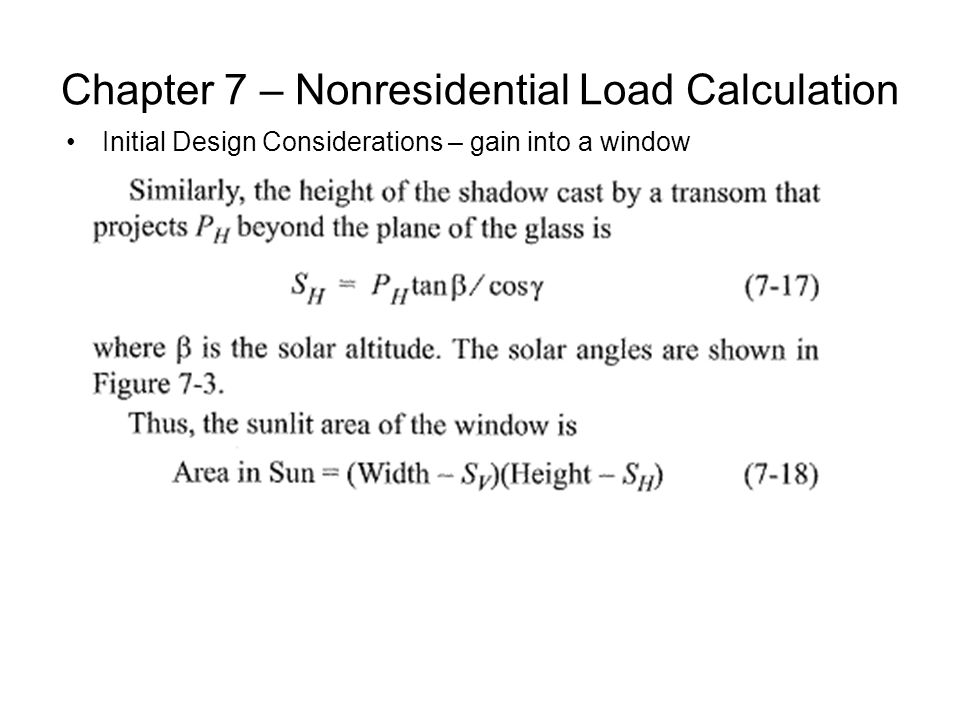 Chapter 7 – Nonresidential Load Calculation Initial Design Considerations – gain into a window
