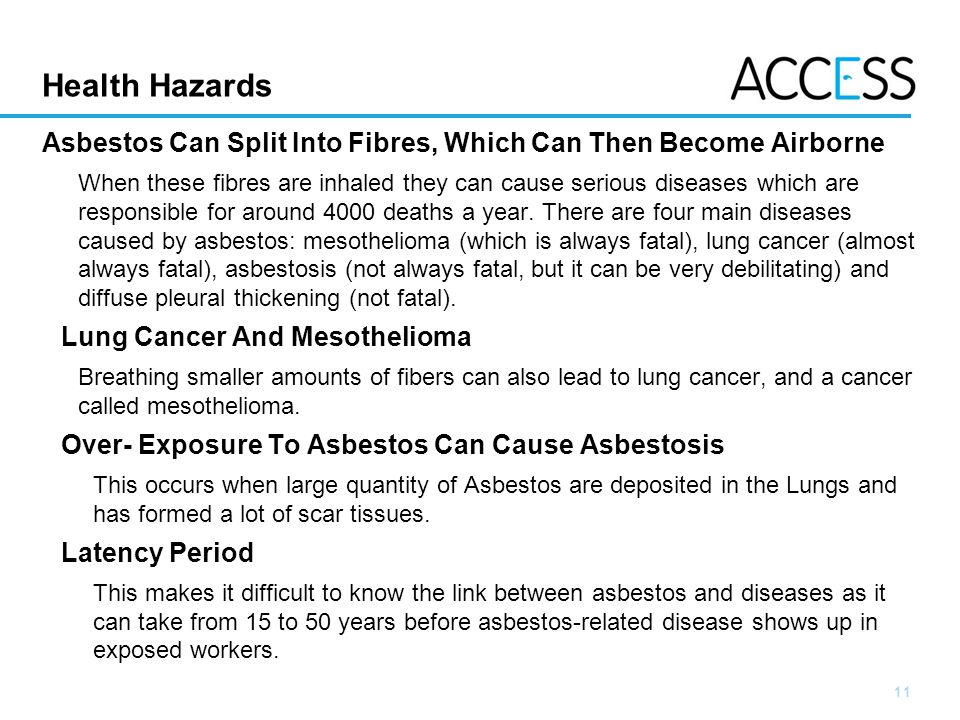 11 Slide 11 Health Hazards Asbestos Can Split Into Fibres, Which Can Then Become Airborne When these fibres are inhaled they can cause serious diseases which are responsible for around 4000 deaths a year.